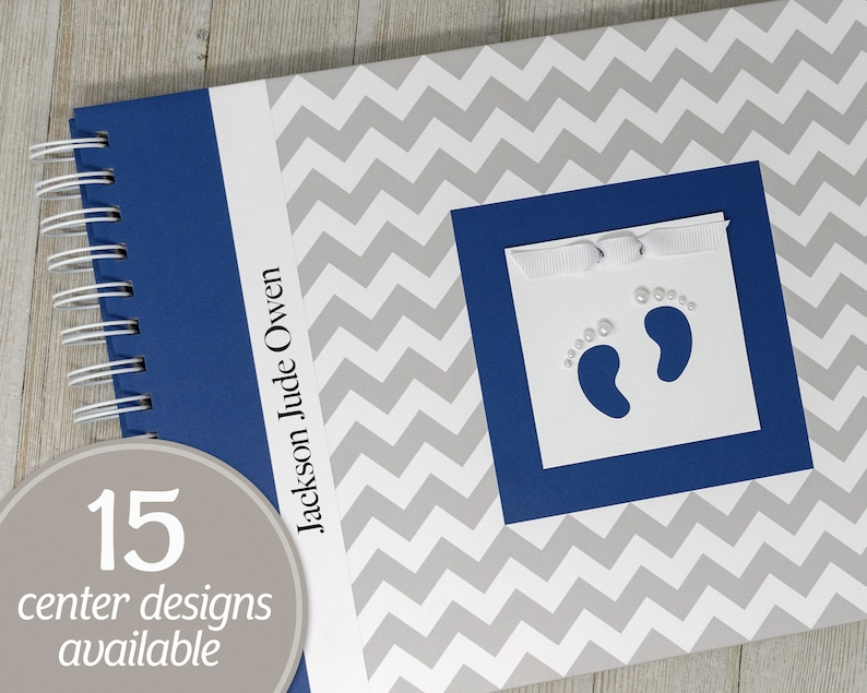 Baby Journal  Personalized Baby Keepsake Book for Boys  Gray image 0
