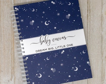 Pregnancy Journal & Memory Book for Expectant Moms - Personalized Hard Cover Keepsake Pregnancy Album Gift - Moon and Stars - Night Sky