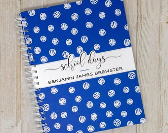 School Memory Book - Hard Cover Personalized School Photo Book - School Years - School Scrapbook - School Album & Journal-Navy Scribble Dots