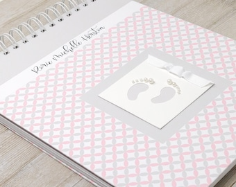 Baby Memory Book Girl (15 Center Designs) - Hard Cover Baby Album & Journal - Personalized First Year Baby Book - Pink and Gray Circle Weave