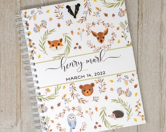 Woodland Baby Book - First Year Baby Journal - Personalized Baby Memory Book - Baby Boy or Girl - Woodland Forest Animals - Woodsy Friends