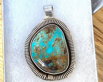 Bisbee Turquoise and Sterling Silver with Fine Silver Bezel Pendant Southwestern Real Bisbee Turquoise