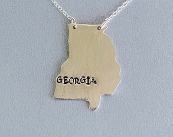 Silver Georgia state necklace