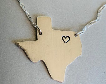 Silver state of Texas necklace