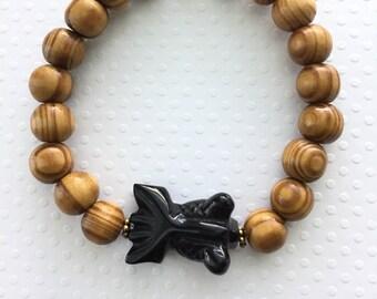 Mens bracelet. Handmade jewelry. Brown wood beads. Stretch bracelet. Onyx goldfish. Mens Jewelry. Sugarplum Gallery.