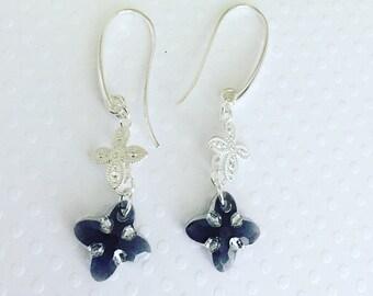 Dangle earrings. Handmade jewelry. Swarovski graphite crystal sterling silver earrings. Drop earrings.
