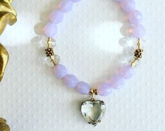 Handmade bracelet. Violet vintage heart bracelet. Purple bracelet. Crystal heart bracelet. Stretch bracelet. Sugarplum Gallery.