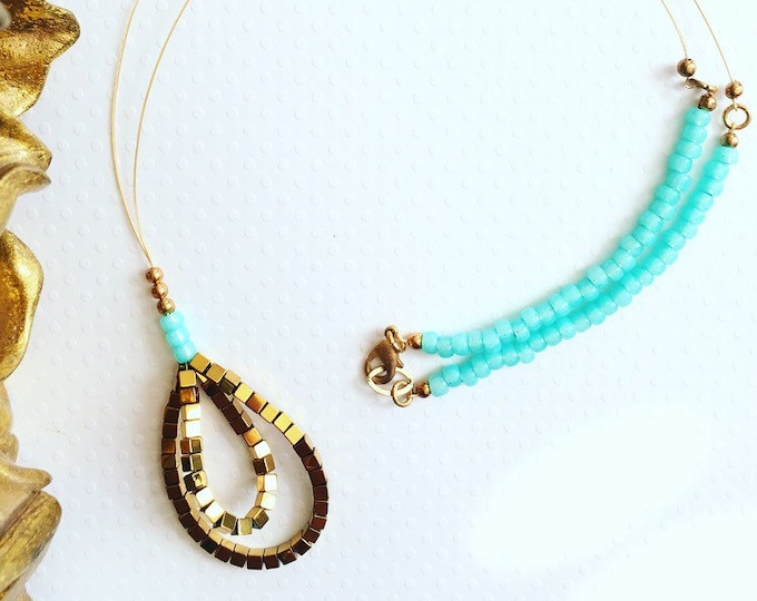 Featured listing image: Necklace. Handmade jewelry. Gold and Turquoise Necklace. Boho. Chic. Sugarplum Gallery.