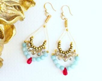 Chandelier earrings. Handmade jewelry. Turquoise, red Swarovski crystal and gold earrings. Drop earrings. Sugarplum Gallery.