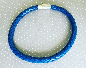 Mens Braided Leather Bracelet. Leather Bracelet. Mens Jewelry. Blue Leather Bracelet. Mens Bracelet. Sugarplum Gallery.