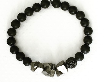 Mens bracelet. Handmade jewelry. Stretch bracelet. Pyrite bracelet. Black and silver bracelet. Unique mens bracelet. Sugarplum Gallery.