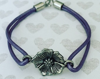 Purple Leather Bracelet. Flower Bracelet. Chic. Leather Cord Bracelet. Unique Bracelet. Sugarplum Gallery.