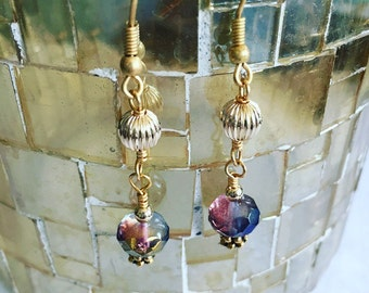 Gold Crystal Drop Earrings, Drop Earrings, Dangle Earrings, Crystal Earrings, Boho Style