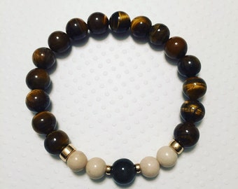 Mens Tiger Eye Stretch Bracelet. Mens stretch bracelet. Mens Jewelry.