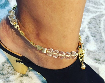 Anklet. Gold Anklet. Gold and Crystal Bracelet. Beaded Bracelet. Arrow and Heart. Boho Jewelry. Unique Jewelry. Sugarplum Gallery.