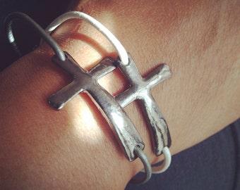 Bracelet - Cross Leather Single Cord Bracelet - Silver Leather Cord