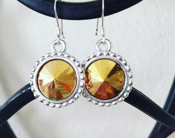 Metallic Sunshine Swarovski Crystal Rivoli Drop Earrings, Swarovski Earrings, Gold Earrings, Yellow Earrings, Weddings, Classic Jewelry