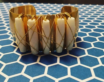 Cuff bracelet. White Beaded Wire Wrapped Brass Cuff Bracelet. White and Brass Bracelet. Boho Jewelry. Chic. Sugarplum Gallery.