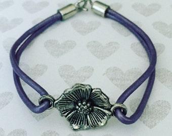 Purple Leather Bracelet. Flower Bracelet. Chic. Leather Cord Bracelet. Unique Bracelet. Sugarplum Gallery.
