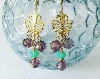 Drop earrings. Handmade jewelry. Chandelier earrings. Gold drop earrings. Peacock earrings. Blue and Purple Earrings. Boho style.