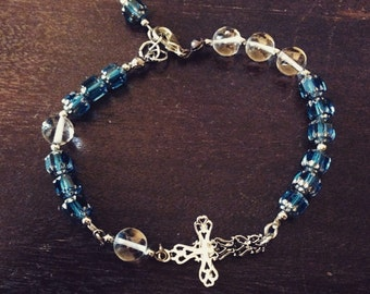 Cathedral Glass Bead Bracelet | Blue and Clear Bead Bracelet