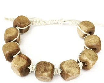 Mens bracelet. Handmade jewelry. Wood beaded bracelet. Natural wood bracelet. Braided Bracelet. Chunky bracelet. Sugarplum Gallery.