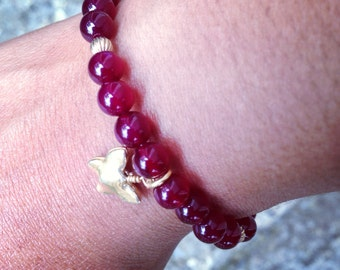 Plum and Gold Butterfly Stretch Bracelet. Purple and Gold Stretch Bracelet. Butterfly Bracelet. Boho. Chic. Sugarplum Gallery.