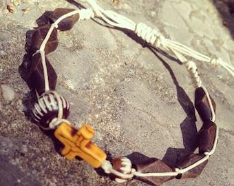 Mens bracelet. Handmade jewelry. Cross and Wood Braided Bracelet. Yellow and brown bracelet. Boho. Sugarplum Gallery.