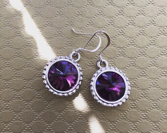 Amethyst Swarovski Crystal Rivoli Drop Earrings, Swarovski Earrings, Purple Earrings, Weddings, Classic Jewelry, Crystal