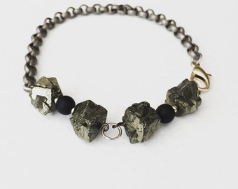 Mens bracelet. Handmade jewelry. Pyrite Chain Bracelet. Pyrite Bracelet. Gray Bracelet. Unique mens bracelet. Sugarplum Gallery.