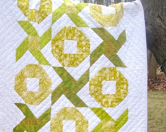 Chartreuse and White Modern Quilt, Throw, Green, Hugs and Kisses, Spring, Summer, wedding, engagement