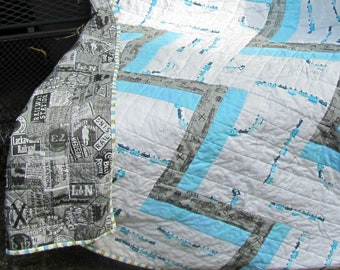 Modern Baby Quilt, Train Baby Quilt, Baby Boy Quilt, Cot Quilt, Crib Quilt, Blue, Gray, Railroad