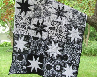 Black and White Baby Quilt, stars, baby girl, modern baby quilt, nursery decor