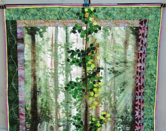 Woodland Wall Hanging Forest Woods Tree Trees Cabin Lodge Art Quilt Fathers Day