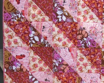 Modern Quilt, Pink, Peach, Purple, Floral, Throw, Mothers Day gift, valentine's gift, teen girl