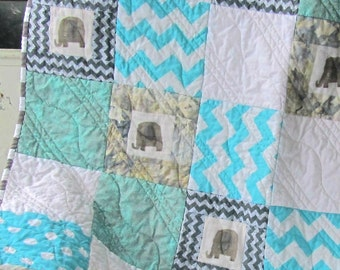 Elephant Baby Quilt, Aqua and Gray Quilt