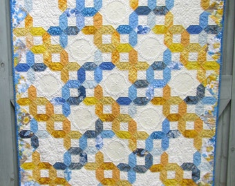 Blue and Yellow Quilt,  Spring Summer quilt, Birds Butterflies  Throw, mother's day gift, wedding gift