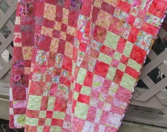Modern Quilt Coral Pink Green Floral Flowers Girls Throw Mothers Day, valentine's day, teen girl