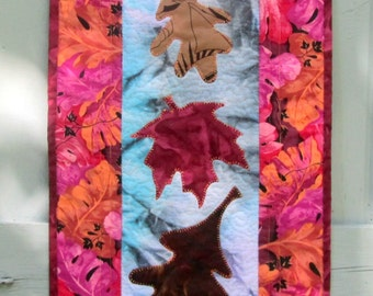 Fall Quilt, Wall Hanging, Autumn Door Decoration, Table Topper, Autumn Leaves, Fall Decor, Housewarming Gift