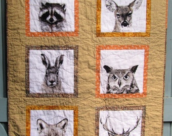Woodland Baby Quilt, Animals, Neutral