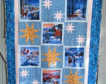 Blue Christmas Quilt, Winter Scenes, Throw