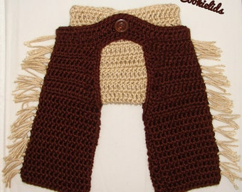 Crochet infant cowboy or cowgirl chaps with diaper cover