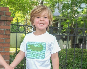 Toddler Boys Alligator Applique Outfit - Personalized Blue & Green Gingham Gator Shirt with Matching Shorts