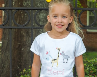 Little Girls Embroidered Jungle Animal Outfit - Personalized Shirt & Yellow Gingham Shorts Set