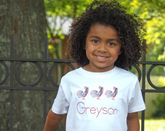 Personalized Gamecock Toddler Shirt - Monogram T-Shirt for USC Fans - Swirly Farm Animals Rooster Boys Tee - Kids Embroidered Clothing SC