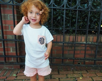Middle or Little BROTHER and NAME Bodysuit or Shirt and Brown Mini Gingham Check Navy Blue Orange Custom Personalized Applique Big