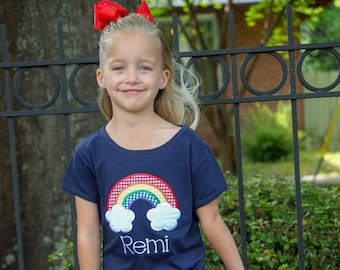 Girls Personalized Rainbow Tee - Navy Girls Fit Applique Shirt & Yellow Gingham Ruffle Shorts Outfit
