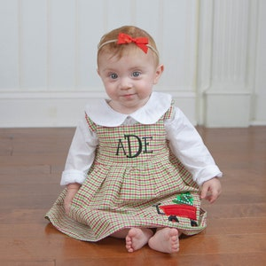 youth ARB Thanksgiving outfit brown black red Holiday outfit Girls Monogrammed Dress Toddler Christmas dress green
