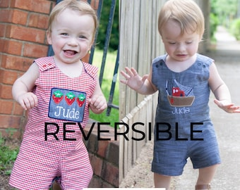 Boys Reversible Shortall - Summer Chambray Appliqued Romper - Red Gingham Strawberry Embroidered Jon Jon - Monogrammed Shrimp Boat Outfit