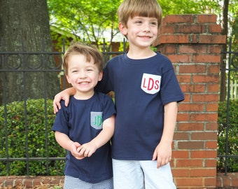 Navy Boys Monogrammed Pocket Shirt Outfit- Navy Pocket Shirt with Light Blue Gingham Shorts